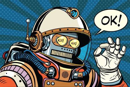 OK robot retro astronauta gesto OK, ilustración retro pop art. Ciencia ficción y robótica, espacio y ciencia. Ilustración de vector