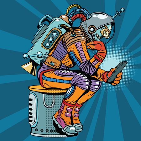 Retro robot astronaut in the thinker pose reads smartphone, pop art retro  illustration. Science fiction and robotics, space and science