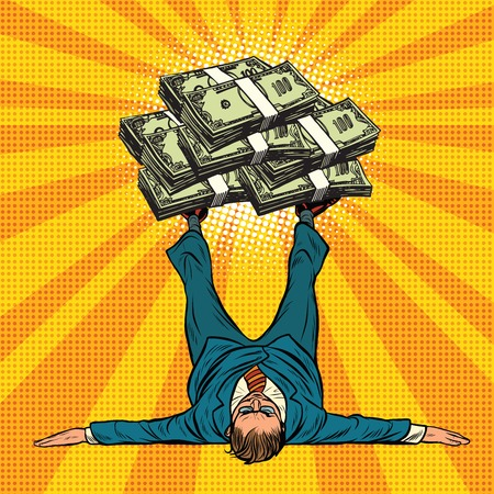 wealth concept: Businessman athlete holds a lot of money on legs, pop art retro vector illustration. The concept of finances and wealth