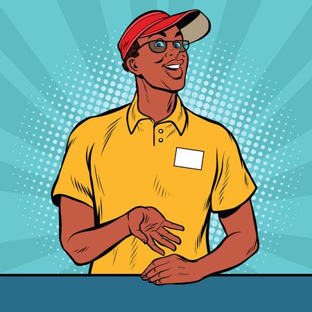 Africaine travailleur américain de la restauration rapide donne l'ordre, le pop art rétro illustration vectorielle. Un employé de restauration rapide de restaurant. Le vendeur est en uniforme