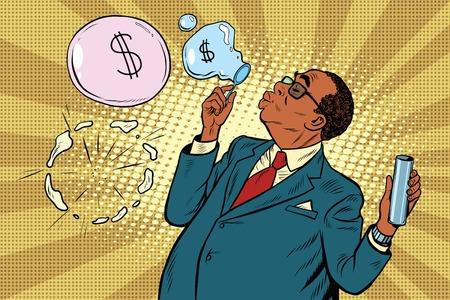 jefe negocio y las burbujas financieras, el arte pop retro ilustración vectorial. Los estafadores y los políticos