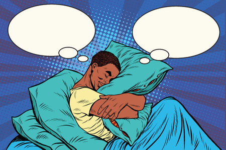 Dreamer man in bed hugging a pillow, pop art retro illustration. African American people Illustration