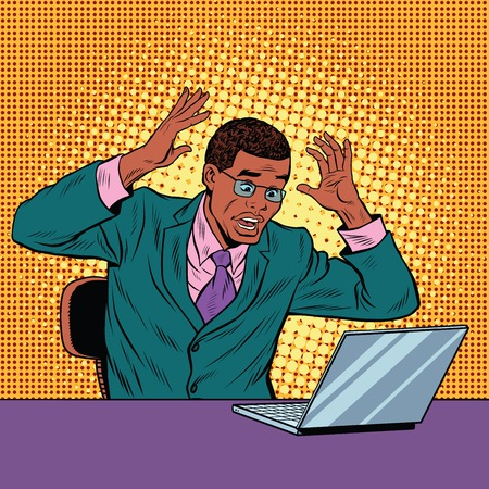 bad news: Businessman in panic, reading notebook, pop art retro illustration. Bad news on the Internet. African American people Illustration