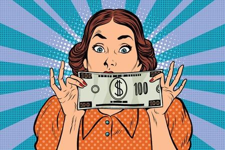 Surprised beautiful retro woman, banknote hundred dollars, pop art illustration