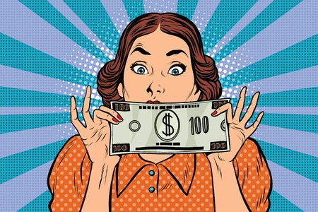 Surprised beautiful retro woman, banknote hundred dollars, pop art illustration