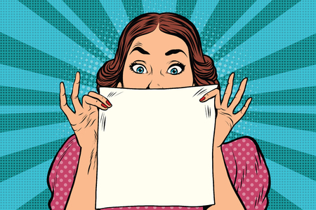 Surprised beautiful retro woman, square white sheet of paper, pop art illustration