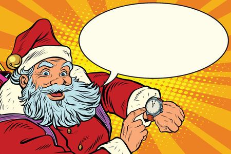 Santa Claus muestra en el reloj, año nuevo y Navidad, ilustración del arte pop retro. cómica de la burbuja
