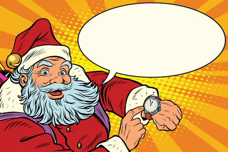 Santa Claus shows on the clock, New year and Christmas, pop art retro illustration. Comic bubble