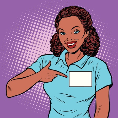 Beautiful woman Manager with a name badge, pop art retro illustration. Africa American people