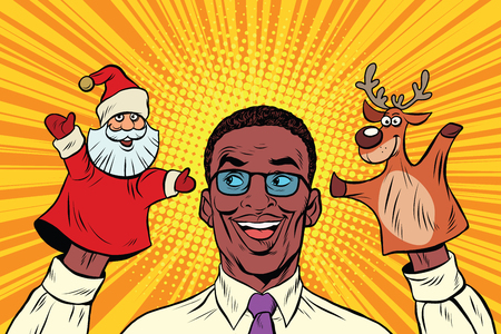 african teacher: Happy dad, a Christmas puppet theater, pop art retro illustration. Santa Claus and reindeer
