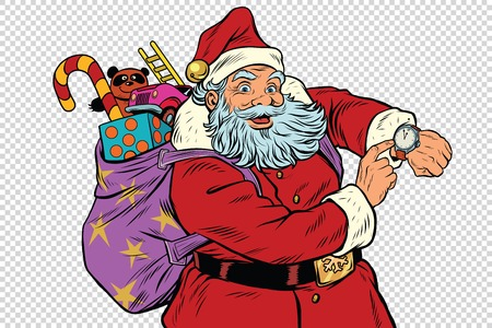 Santa Claus shows on the clock, New year and Christmas, pop art retro illustration. Checkered background to simulate transparency