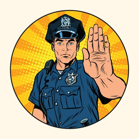 Retro police officer stop gesture, pop art retro illustration. Law and order. In circle background Vectores