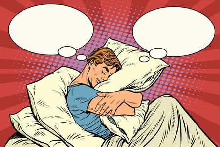 Dreamer man in bed hugging a pillow, pop art retro illustration Illustration