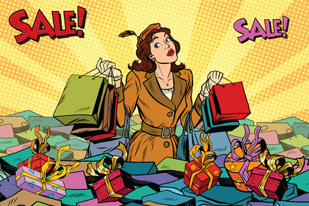 Woman with shopping in a sea of sales, pop art retro illustration