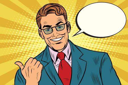 stubble: Smiling businessman showing big finger to the left, pop art retro illustration