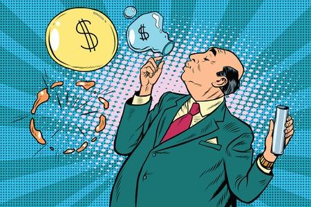 Businessman financier money inflates bubbles, pop art retro illustration