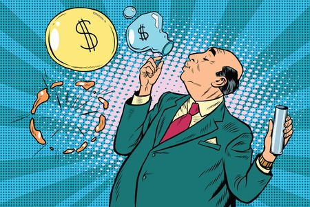 financier: Businessman financier money inflates bubbles, pop art retro illustration