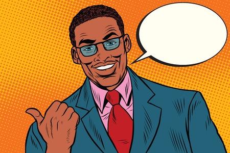 Hombre de negocios positivo que muestra la dirección del pulgar, el arte pop retro ilustración de África