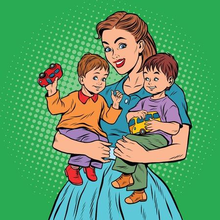 Young retro mom with two children boys, pop art retro illustration
