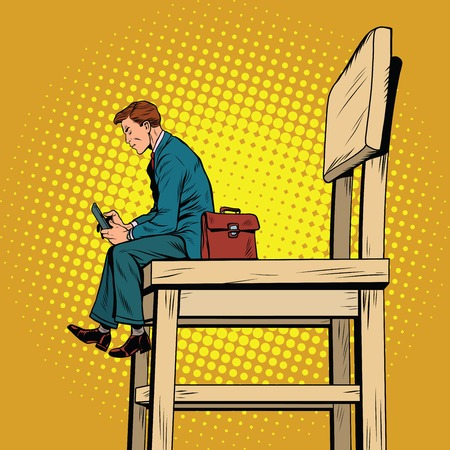 Small business man on the big chair, and smartphone, pop art retro illustration