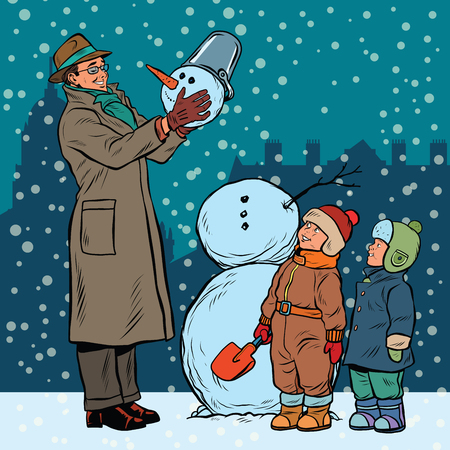 Children and male mold snowman, pop art retro illustration