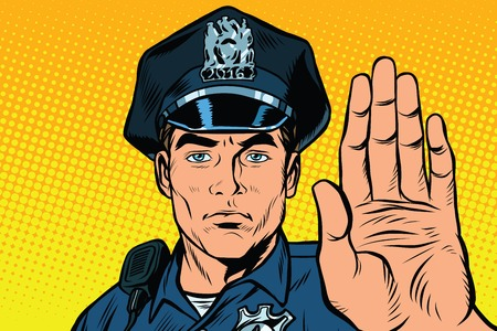 Retro police officer stop gesture, pop art retro illustration.
