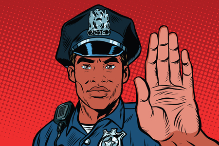 detain: Retro police officer stop gesture, pop art retro illustration. Law and order. African American people. Close-up