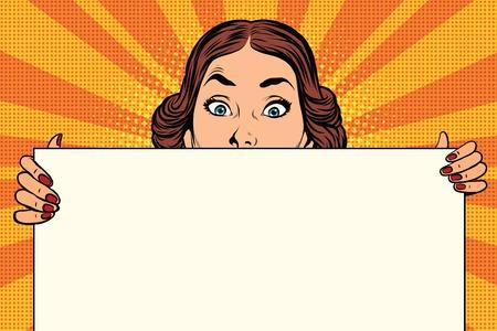 Zaskoczona piękna kobieta retro, długie billboard, pop art ilustracji Ilustracje wektorowe