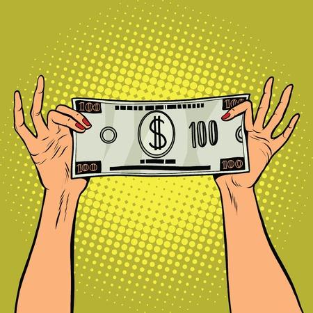 paying bills: Female hands holding a hundred dollar bill, pop art retro illustration Illustration