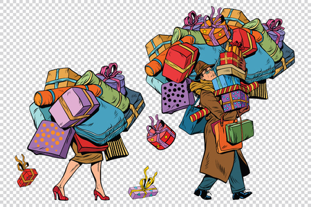 Holiday sales, a couple man and woman with shopping, pop art retro illustration. The background to simulate transparency