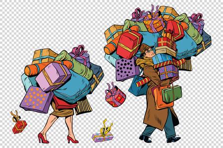 Les ventes de vacances, un homme couple et femme avec shopping, pop art rétro illustration. L'arrière-plan pour simuler la transparence