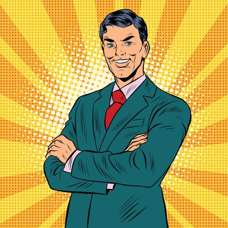business confidence: successful retro businessman, pop art retro illustration