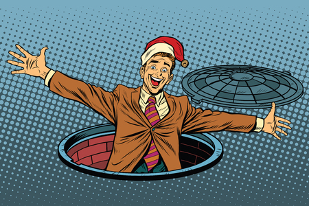 Hello businessman Christmas surprise. Pop art retro vector illustration. Luke city sewer Illustration