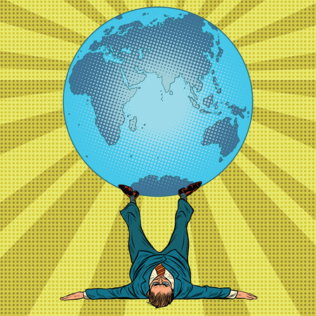 International policy concept. man and Earth. Pop art retro vector illustration. Businessman boss holds the planet on his feet