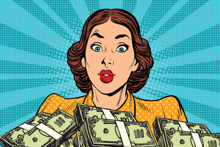 woman holding money: Retro girl and a lot of money. Pop art vector illustration. Business and Finance Illustration