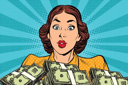 Retro ragazza e un sacco di soldi. Pop illustrazione arte vettoriale. Affari e finanza