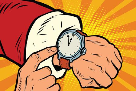 hombre rojo: Santa Claus muestra el reloj, cerca de la medianoche. la ilustración del arte retro del vector del pop. Navidad y año nuevo. reloj de pulsera con esfera