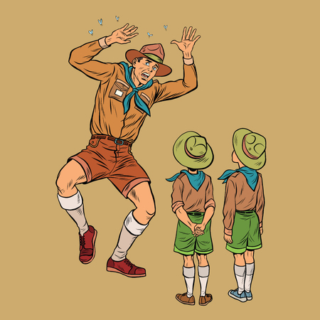 The scoutmaster is afraid of insects. Pop art retro vector illustration. Scouts children