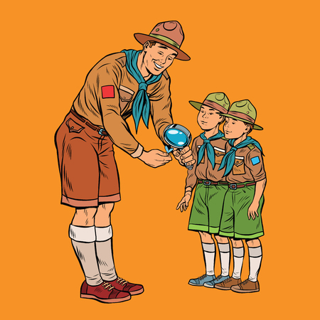 scoutmaster shows little insect to young scouts. Pop art retro vector illustration. Nature and science Illustration
