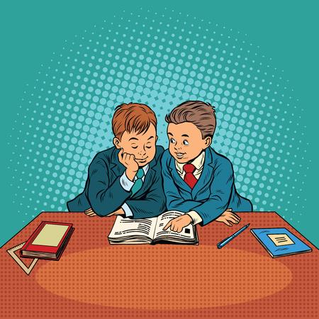 Two friends in school. Pop art retro vector illustration. Education and friendship between children