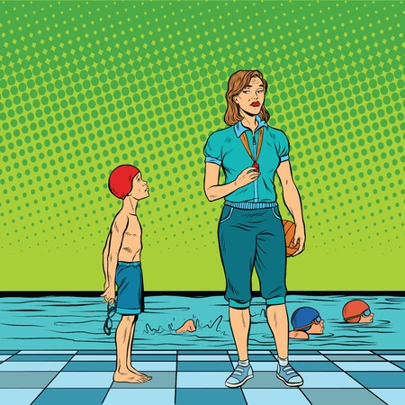hostility: Female swimming coach disgruntled student. Pop art retro vector illustration. Poor results in sports. Discrimination against special children