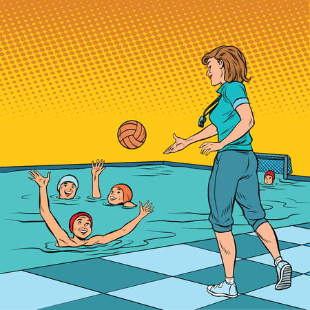 water polo: coach playing with children sport water Polo. Pop art retro vector illustration. A woman in the profession