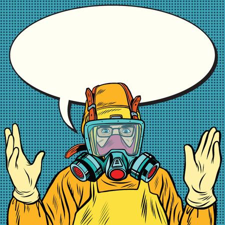 methamphetamine: Scientist chemist in protective suit, lab. Pop art retro vector illustration