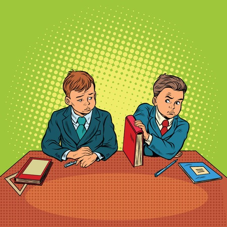 hostility: Two boys in school, bulling, discrimination. Pop art retro vector illustration. The feud between the children