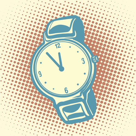 midday: Wrist watch retro. Old illustration. Pop art vector. Time and dial
