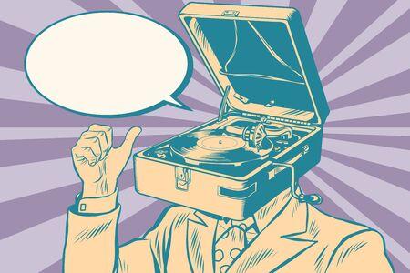 Gramophone man music playing. Old illustration. Pop art retro vector Stock Illustratie