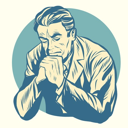 hush hush: Retro man praying, religion and meditation. Old illustration. Pop art retro vector Stock Photo
