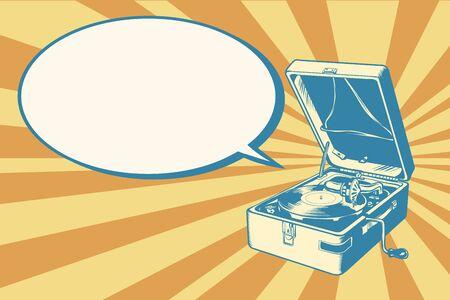 turntable: Musical retro turntable Illustration
