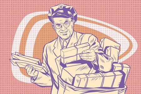 retro: retro postman, delivering letters