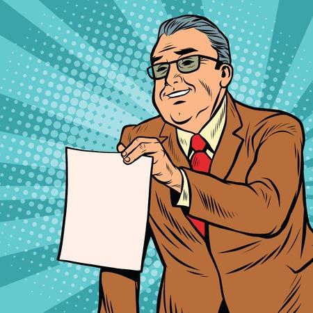 jefe empresario con una hoja de papel en blanco